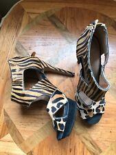 top shop leopard tiger platform heel sandals pony skin worn once 6