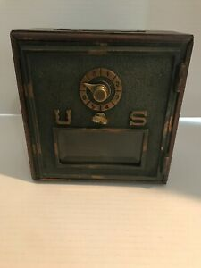 Vintage Odyssey Creations Wooden Brass Combination Bank Safe 1970's Works!