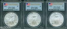 3-COINS: 2002 & 2003 & 2004 American Silver Eagles ASE PCGS MS69 FIRST STRIKE FS