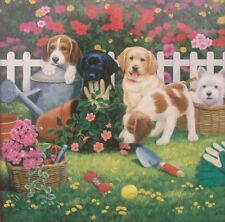 jigsaw puzzle 550 pc Cute & Cuddly in the Garden puppies dogs labs terrier