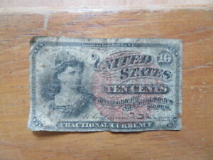 Vintage Collectable United States Ten Cents Fractional Currency Bank Note.