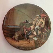 More details for antique prattware pot lid -  the enthusiast - fishing