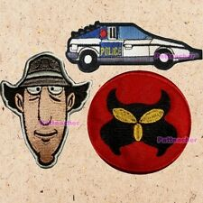 Lot of 3 Inspector Gadget Patches M.A.D Logo Dr. Claw Police Car Detective Face