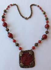 VINTAGE ART DECO CARNELIAN MOLDED GLASS AND BEAD PENDANT NECKLACE