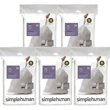 100 simplehuman Bin Liners,(10 Litre) Code R, 5 Pack of 20