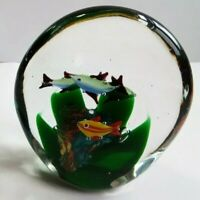 Fish Aquarium Paperweight - Murano Style Hand Blown Glass - 3D