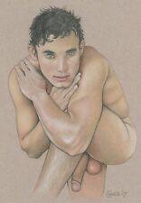 FINAL SALE DAYS - Artist Chance Male Nude 9x12 Pencil Art Study 34