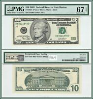 2003 Star $10 Boston Federal Reserve Note PMG 67 EPQ Superb Gem Unc FRN Currency