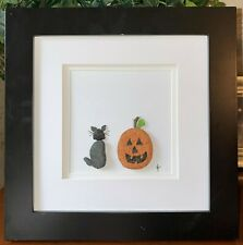 Beach Glass Art - Black Cat and Jack O' Lantern - Real Beach Glass and Stones