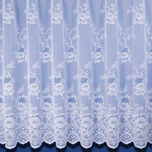 Clumber Heavyweight Jacquard Net Curtain - Finished In White - Preset Sizes