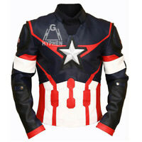 Captain America Civil War Real Genuine Cowhide Leather Motorcycle Jacket