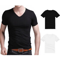 Men Summer Short Sleeve Black White V Neck T-shirt Slim Fit Casual Top Basic Tee