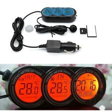 New Car Vehicle Digital LCD Clock Temperature Thermometer Gauge+Battery UK Stock