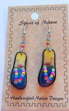 Spirit of Nature earrings small flip flops flamingos-pink- yellow blue -beads