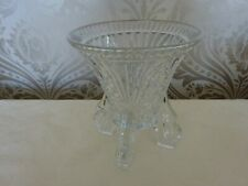 Vintage Retro Art Deco Patterned Glass Footed Vase 16cm Tall