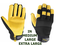 Wells Lamont Men's HydraHyde Leather Work Gloves, ONE PAIR SIZE M, L, & XL NEW