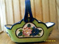 Vintage Japan Ceramic Pottery Basket Planter with Hand Painted Flowers