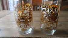2 1970s Vintage Owl Cocktail Drinking Glasses