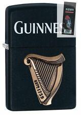 Zippo 29676 Guinness Beer-Harp Logo Black Matte Emblem Lighter + FLINT PACK