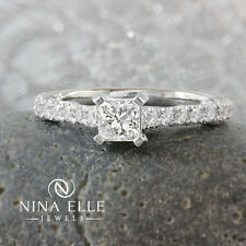 1.07ctw 14K White Gold Princess Cut Diamond Engagement Ring