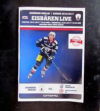 Eisbären Berlin vs Adler Mannheim/Dusseldorfer EG 2017 Official Hockey Programme