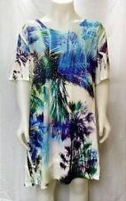 Tropical Palms  sht sleeve embellished  tunic  top wash n wear JOSTAR USA -L