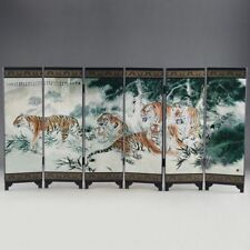 "CHINESE LACQUER OLD HANDWORK PAINTED FIVE BLESSING TIGER ""SIX FOLD SCREEN DECO"""