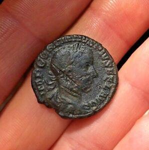 """EMPEROR GORDIAN III RARE """"DAMNATIO"""" Ancient Roman AE As 243AD APOLLO RIC304 8.2g"""