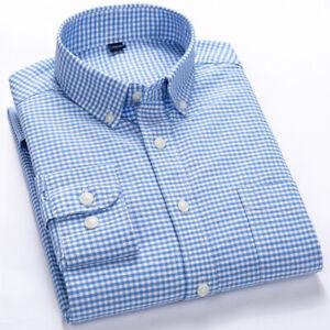 Mens Dress Shirts Long Sleeves Casual Slim Fit Shirts Camisas Plaids Cotton Tops