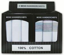 New Men's 3Pack Quality Handkerchief 100% Cotton Hankies Display Value Gift Box