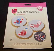 Cake Mate Dessert Decals Love Birds Heart 12 Edible Designs Cookie Cupcake Party