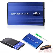 "Blue External USB 2.0 Hard Disk Drive 2.5"" IDE Enclosure Box HDD Case Portable"