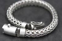 Handmade Solid Sterling Silver .925 Bali Tulang Naga Weave Large 8 mm Bracelet.
