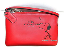 COACH X Peanuts SNOOPY Limited Edition Red Leather Wristlet Clutch Wallet NWT