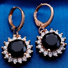 NOBL CLASSIC DESIGN ROSE GOLD Plated BLACK Cubic Zircon DROP Earrings
