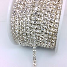10 Yards SS10 Close Cup Silver Chain Grade A+ Crystal Clear Rhinestones