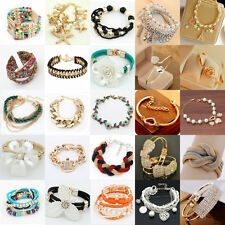 New Fashion Women's Gold Plated Crystal Leather Bangle Charm Cuff Bracelet Gift