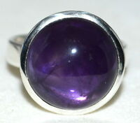 Natural Purple Amethyst Sterling Silver Ring 925 Solitaire Sizes N, 6½ to Z+5,15