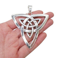 2 x Tibetan Silver Large Celtic Knot Trinity Triquetra Charms Pendants 68x65mm