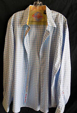 Robert Graham Shirt 2XL Blue Yellow Gold Metalic Flip Cuff Checkered Unique