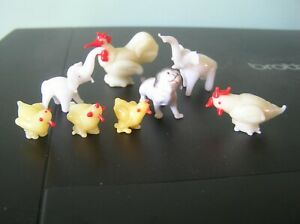 """EIGHT GLASS ANIMAL FIGURES: ELEPHANTS, CHICKENS, DUCKLINGS, DOG: 1.5"""" LONG: VGC"""