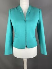 Zara Size L 12 14 Teal Turquoise Zipped Textured Jacket Silver Detail Occasion
