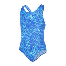 Speedo Boom Allover Splashback Girls Swimsuit Amparo Blue