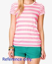 NEW! AUTHENTIC F21 WOMEN'S STRIPES T SHIRT TOP (PINK/WHITE, SIZE SMALL)
