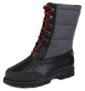 Lauren Ralph Lauren Women's Black Grey Quinlyn Lace Up Boot Shoes Ret $159 New