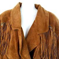 VINTAGE 70s Women's M Leather Fringe Jacket Brown Pockets Sky Blue Water