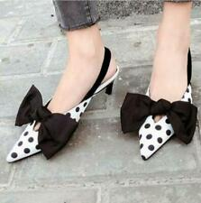 Elegant Lady Pointed Toe Shoes Sandals Polka Dot Bow Mid Heels Stiletto Pumps