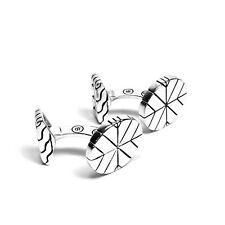 JOHN HARDY Mens .925 Sterling Silver Cufflinks Circular Modern Chain (MSRP $350)