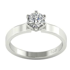 Solitaire Engagement Ring 0.80 Ct I1 G Natural Round Diamond 6 Prong White Gold