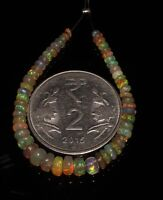 """7.21 TCW 2to5 MM 4"""" NATURAL ETHIOPIAN FIRE OPAL ROUNDEL BEADS demi strand *T1820"""